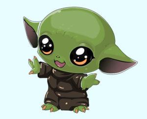 Baby Yoda Art Rendering