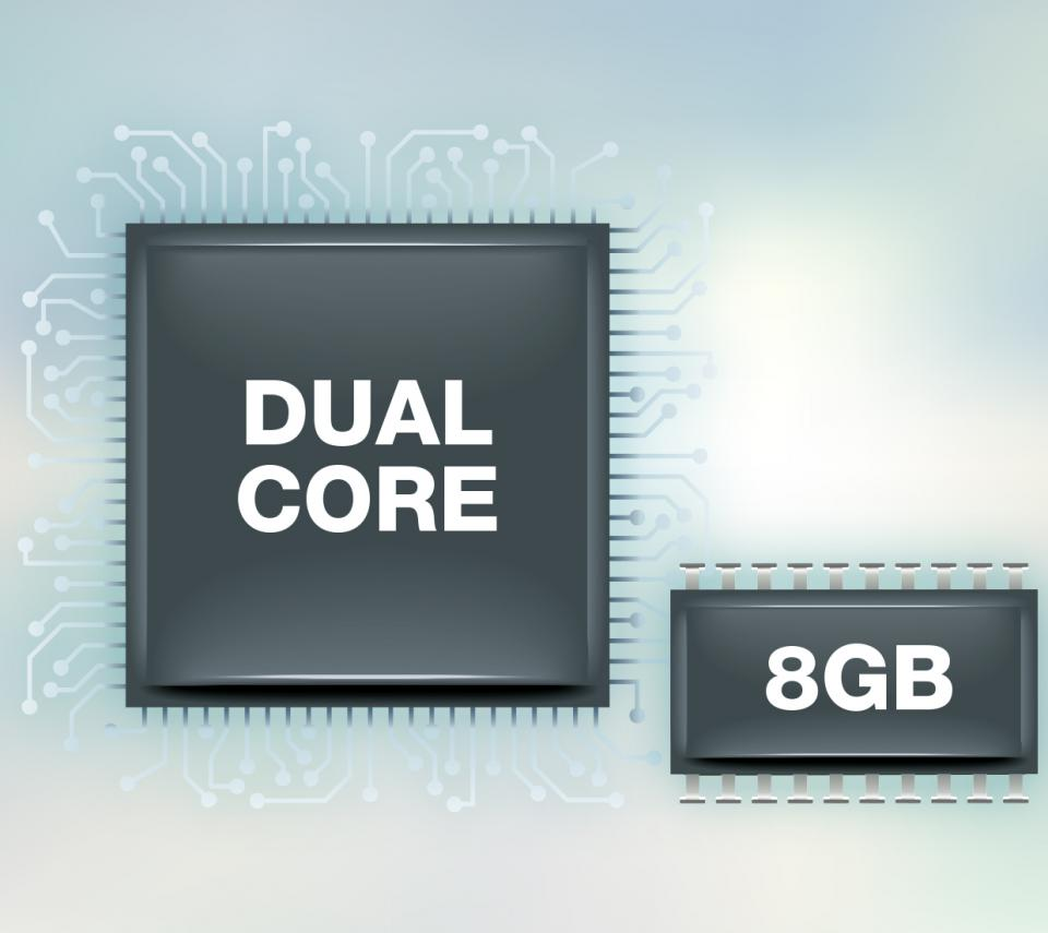 Built-in ARM Dual-core CPU with 8GB Storage